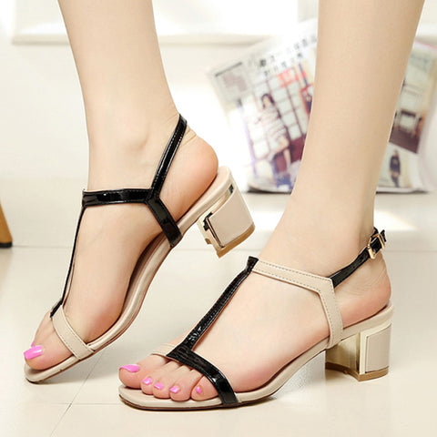 2015 Women Sandals High thick Heel Sandals Summer women Sandals