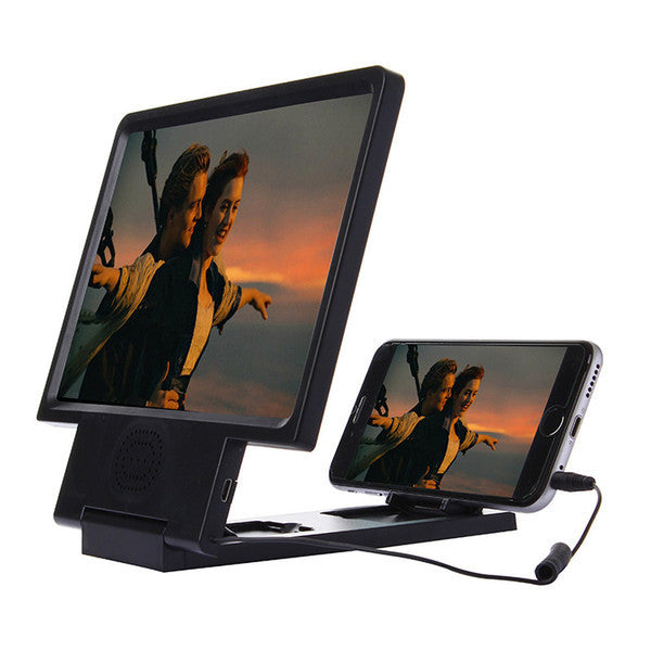Upgrade Enlarged Screen 3D Video Amplifier Eyes Display Magnifying with Speaker Cell phone Stand with Package 100pcs/lot Free Shipping