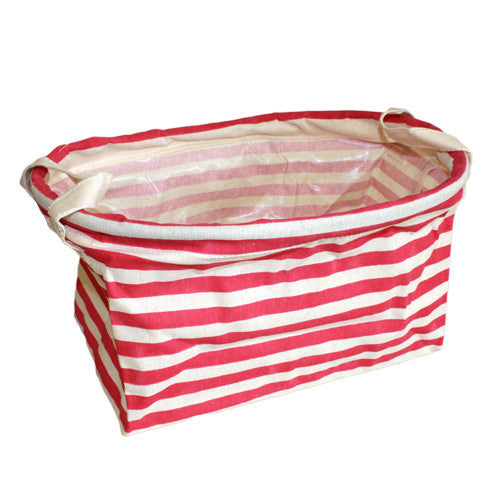 Reinforced Cotton Basket - Red Stripes - Shopy Max