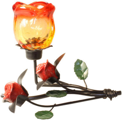 Single Rose Laying Romantic Candle Holder - Shopy Max