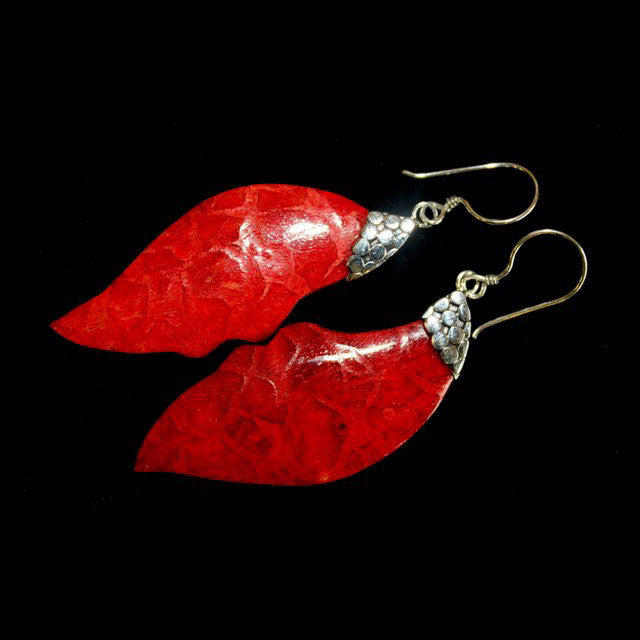 Leaf Drop Coral Earrings - Shopy Max