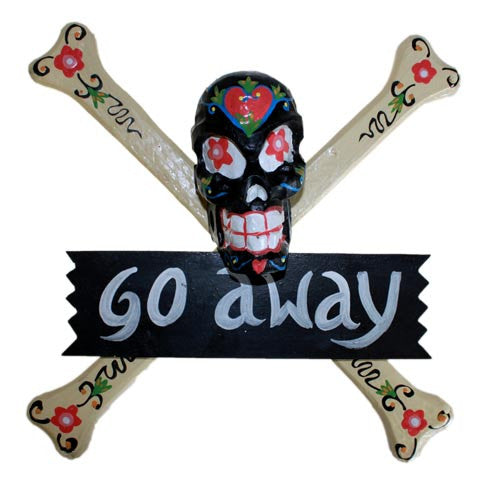 Skulls Warning Sign - GO AWAY - Shopy Max