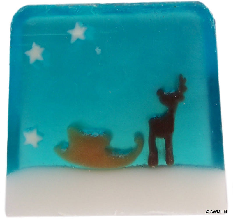 Reindeers & Sleigh Soap - 115g Slice - Shopy Max