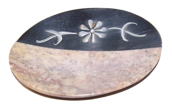 Sandstone & Carved Marble Soap Dish - 155mm x 90mm - Shopy Max
