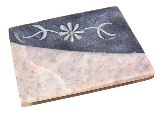 Soapstone 7 Carved Marble Soap Dish - 115mm x 90mm