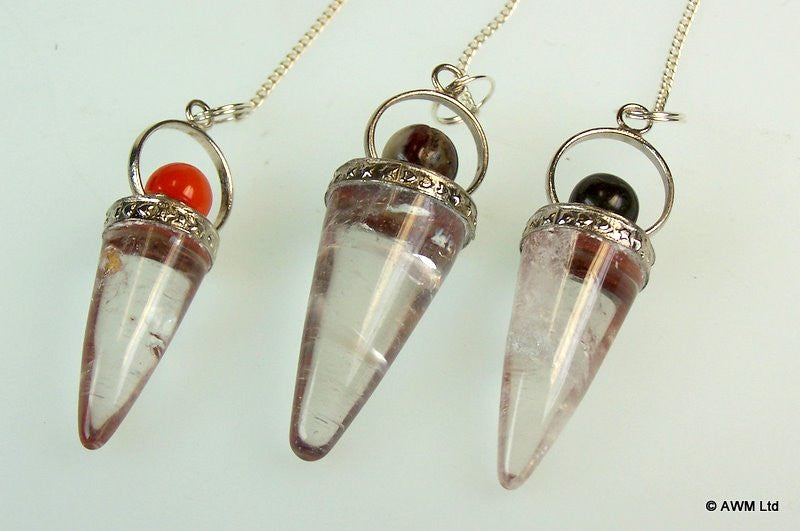 Rock Crystal Cone & Silver Ring Pendulum - Shopy Max