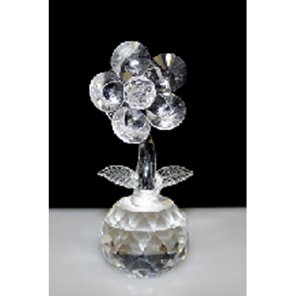 Single Crystal Flower on Crystal (Clear) - Shopy Max