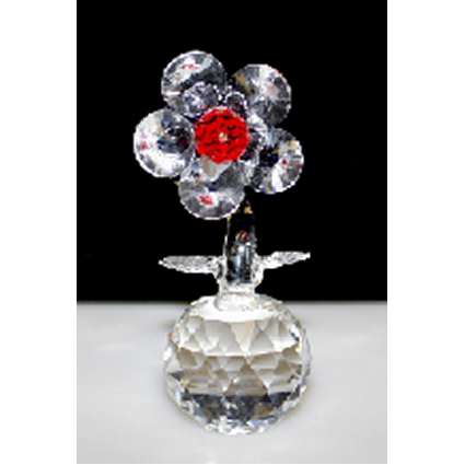 Single Crystal Flower on Crystal (Red) - Shopy Max