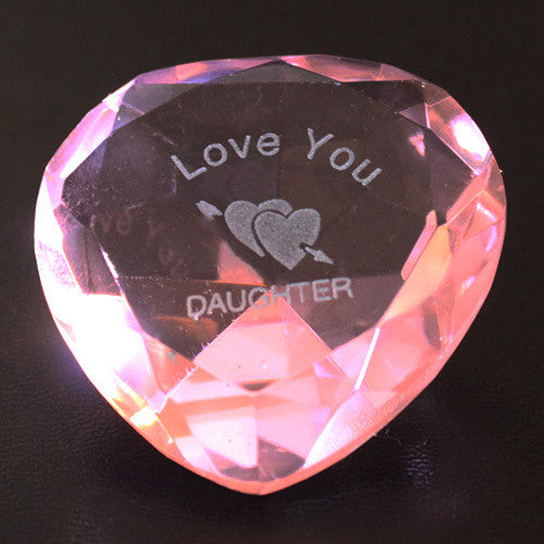 I Love You daughter & Pink Crystal Heart - Shopy Max