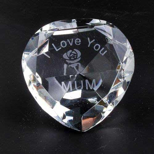 I Love You Mum & Rose Clear Crystal Heart - Shopy Max
