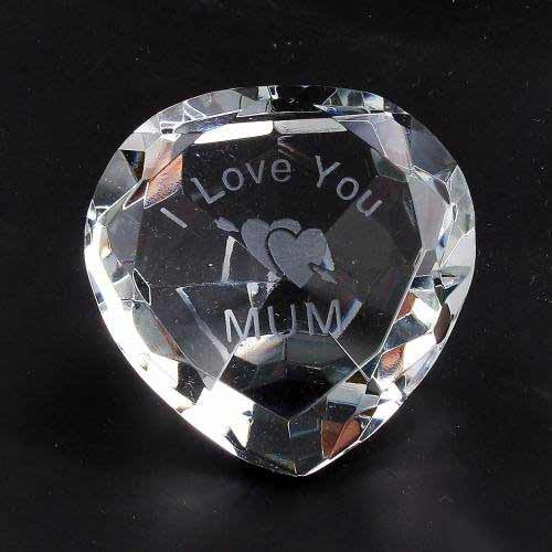 I Love You Mum & Heart Clear Crystal Heart - Shopy Max