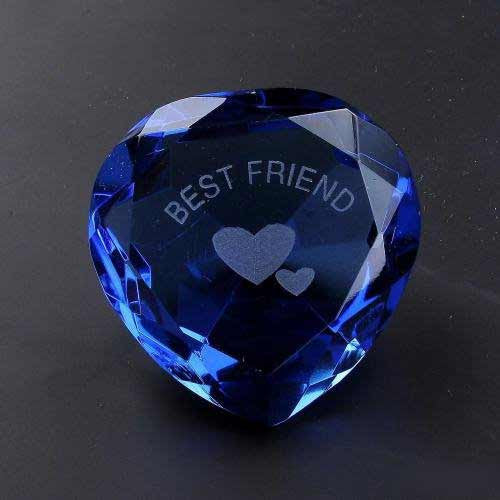 Best Friend & Heart Blue Crystal Heart