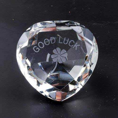 Good Luck Clear Crystal Hearts - Shopy Max