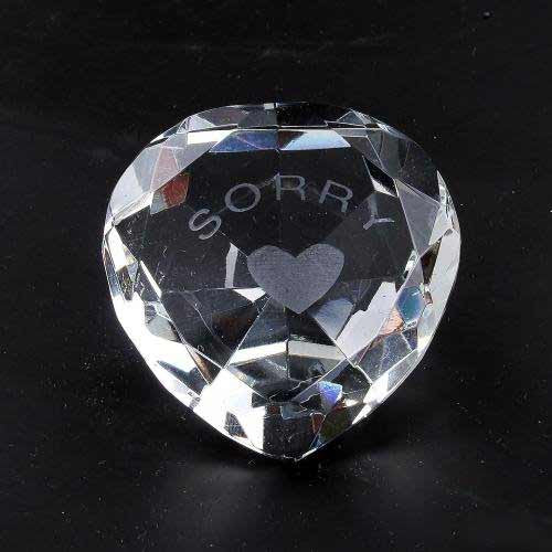 Sorry & Heart Clear Crystal Heart - Shopy Max