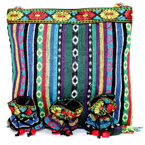 Tibetan Fringe Bag - Large & 3 Pouch