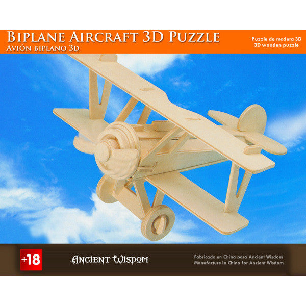 Biplane Aircraft - 3D Wooden Puzzle