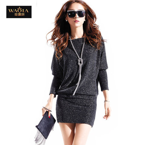 2013 new hot fashion women clothing cute casual active sexy dress wild slim Elegant long sleeve Plus size Batwing sleeve Sequins