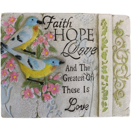 Wise Word Plaque Lrg - Faith, Hope, Love