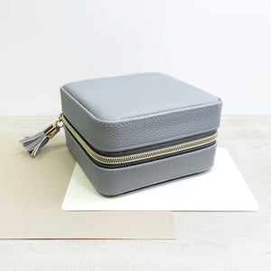 Grey Leather Travel Jewelry Case