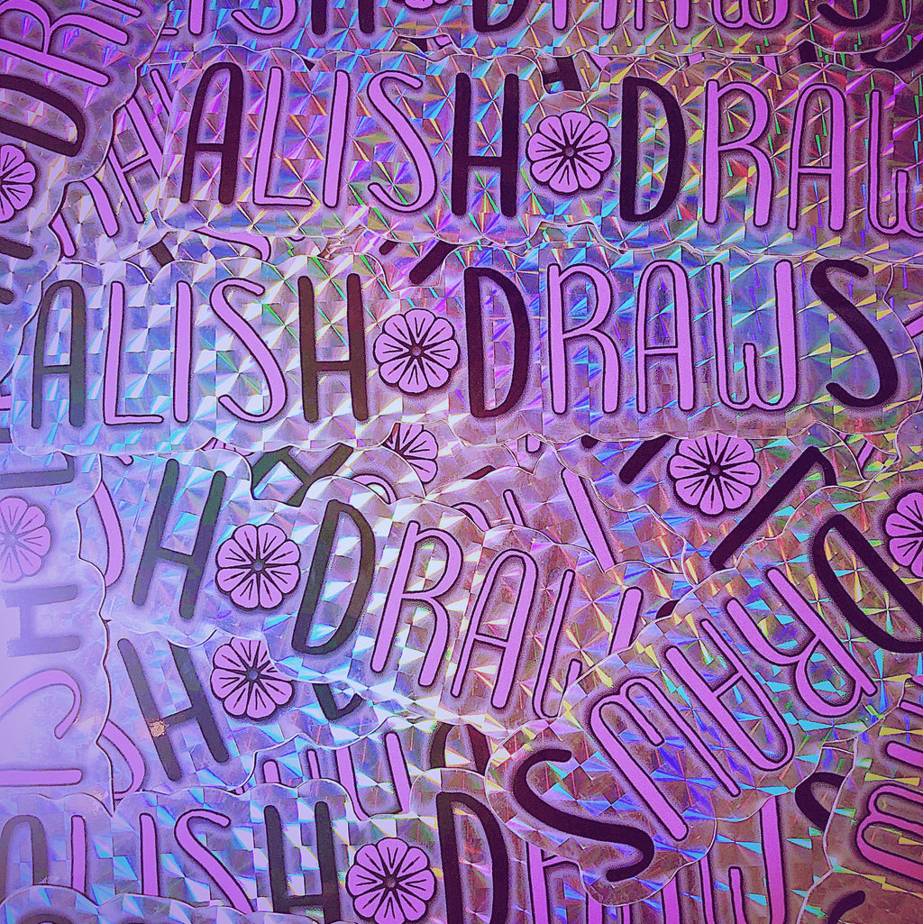 "5"" Holographic Vinyl AlishDraws Logo Die-Cut Sticker - AlishDraws"