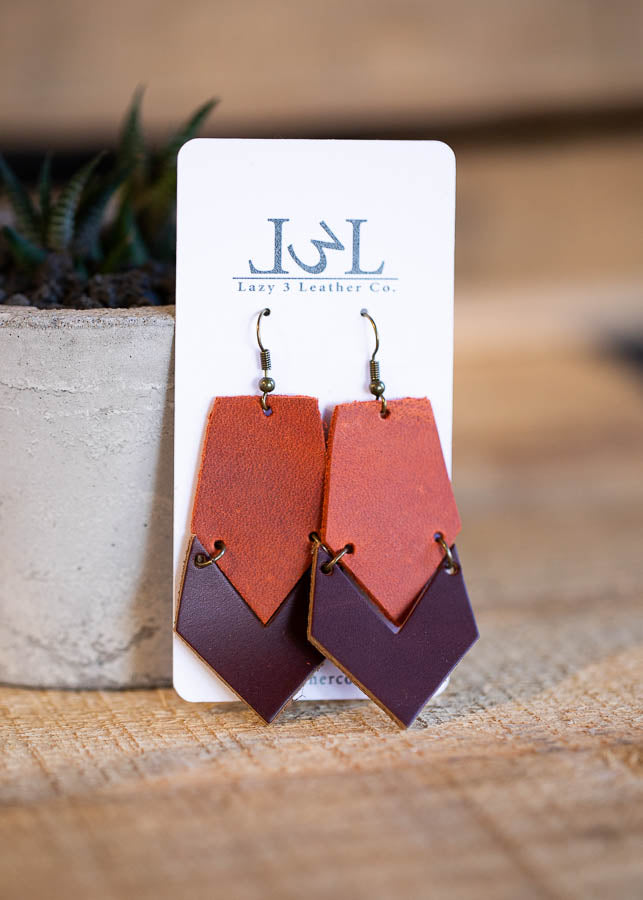 Chevron Brick and Brown Earrings