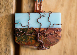 Jasper Pendant with Copper Tree of Life