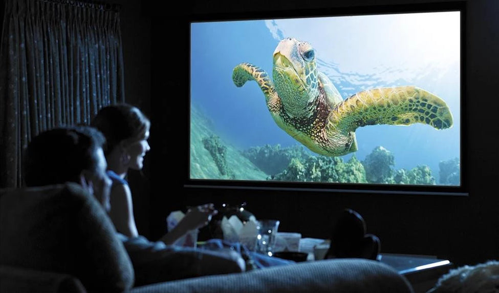 Couple watching movie using Goodee Projector