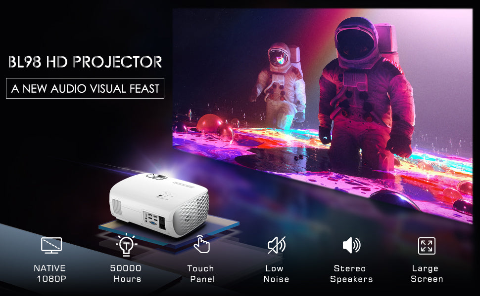 GooDee BL98 Native 1080P HD Video Projector, Touch Keys with 50,000 Hrs Lamp Life (Projector Screen as gift) | GooDee
