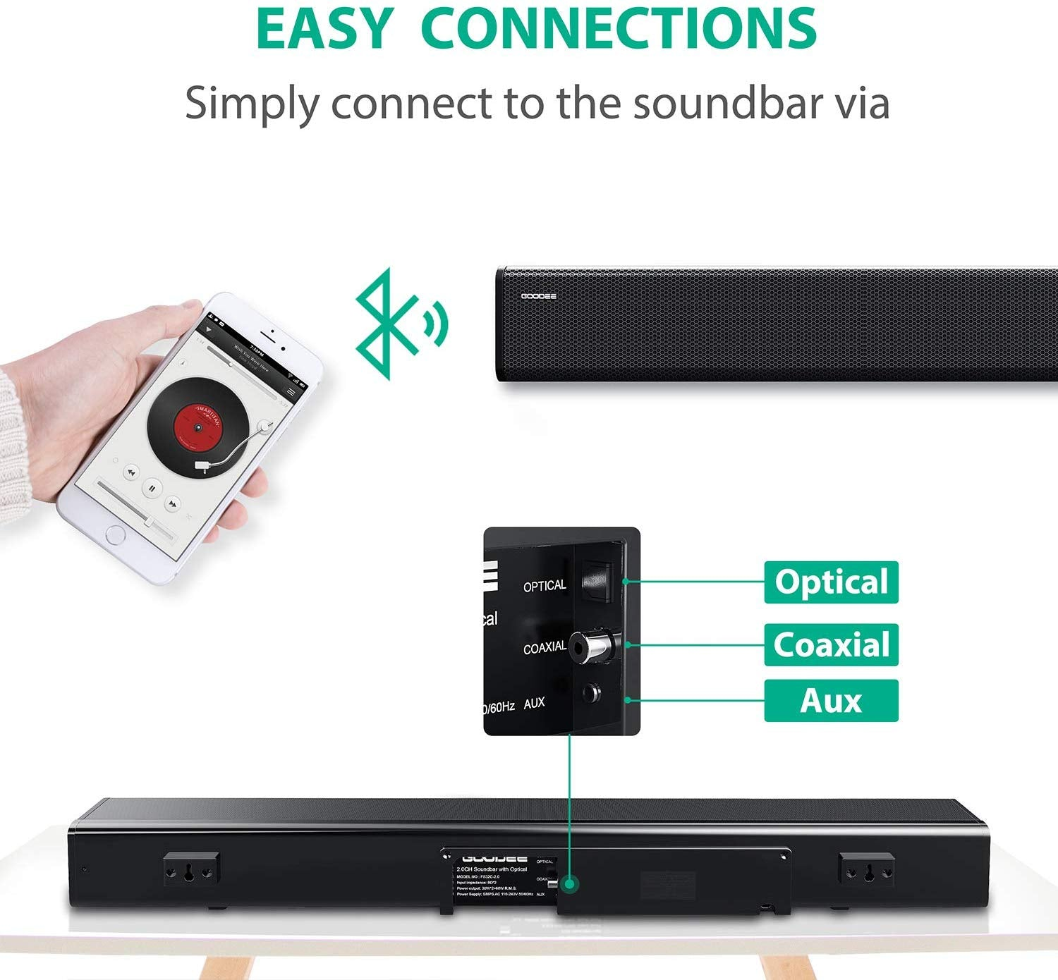 Goodee Sound Bar Easy Connections