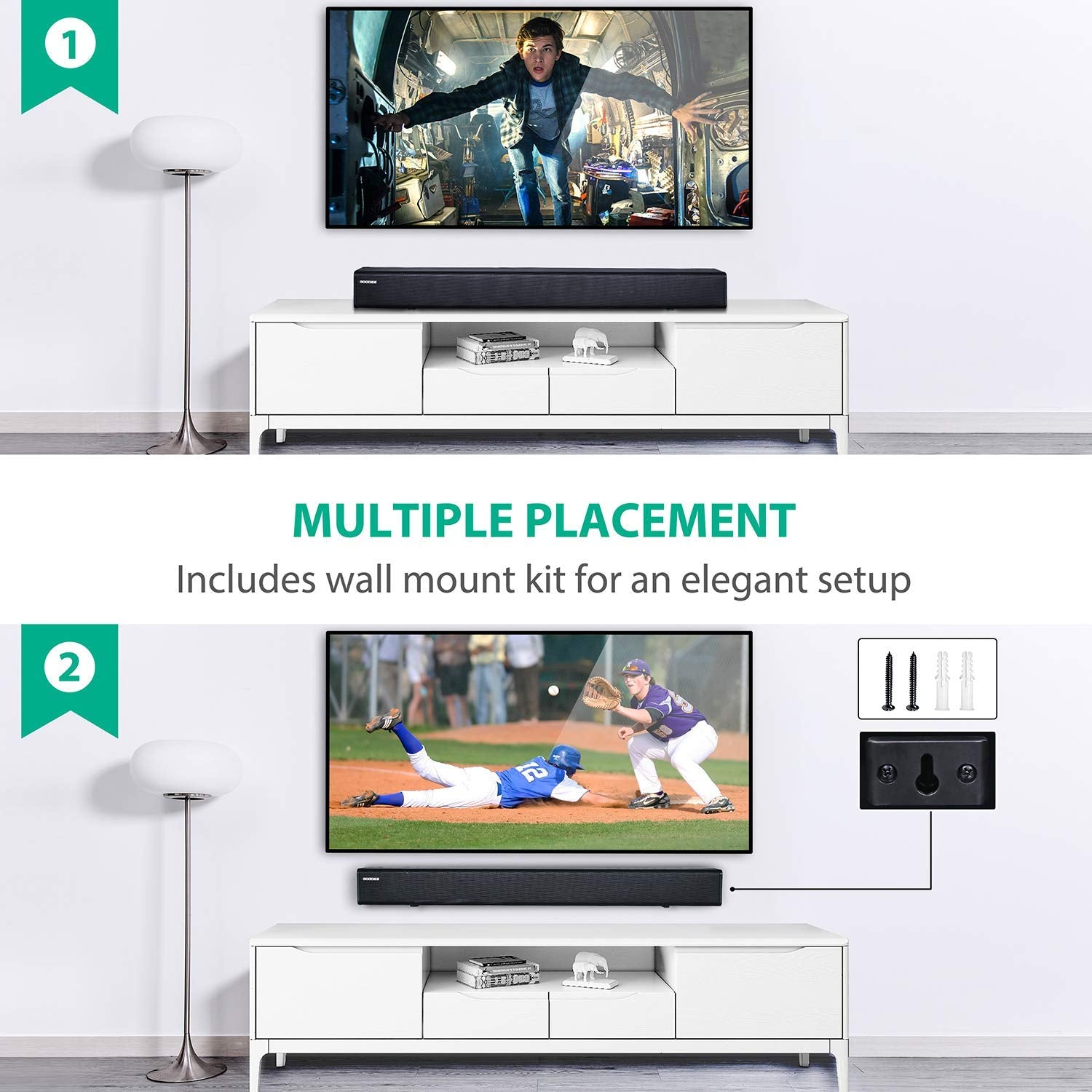 Goodee Sound bar Multiple Placement