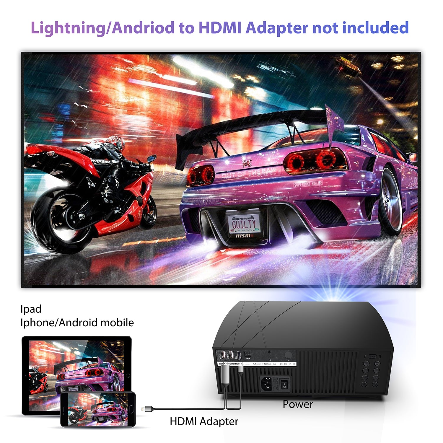 GooDee F20 Native Full HD 1080P LED Video Projector | Home Theater Projector | GooDee