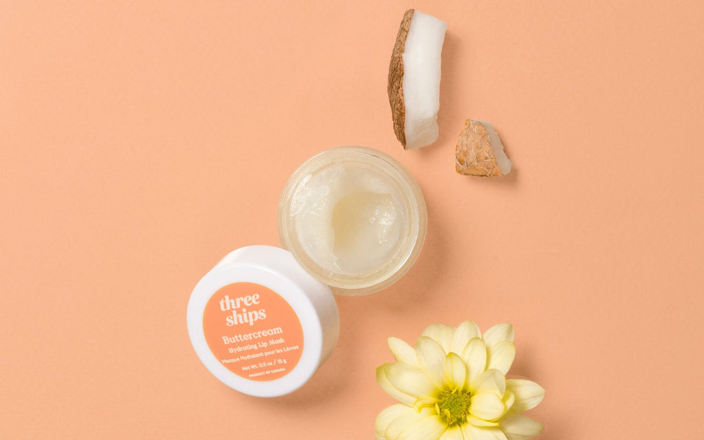 Buttercream Hydrating Lip Mask with ingredients coconut oil, sunflower seed oil, and shea butter