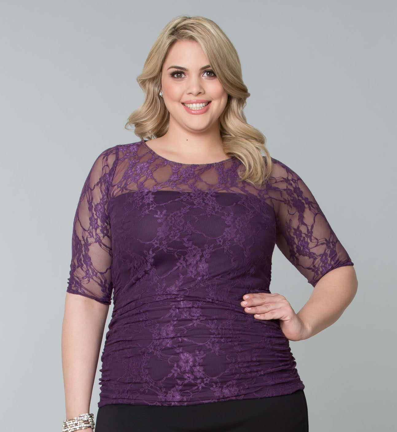 Smitten Lace Top - Plum Crazy # Plus-size felsőrész