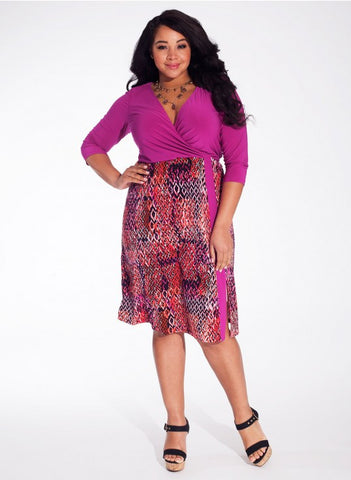 Taylor Dress in Coral Boulvard # plus-size ruha