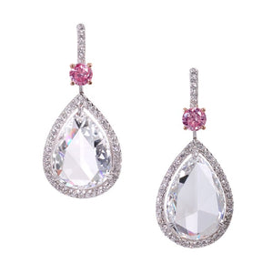 Pink and white diamond earrings