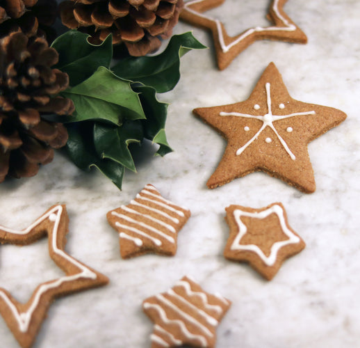 Ginger bread cookies from bulk food store Gram near a christmas wreath