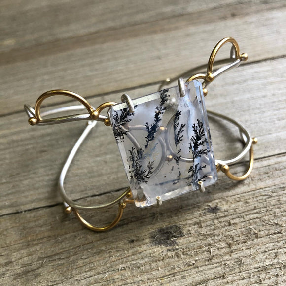 Lace Trimmings Cuff with Dendritic Quartz