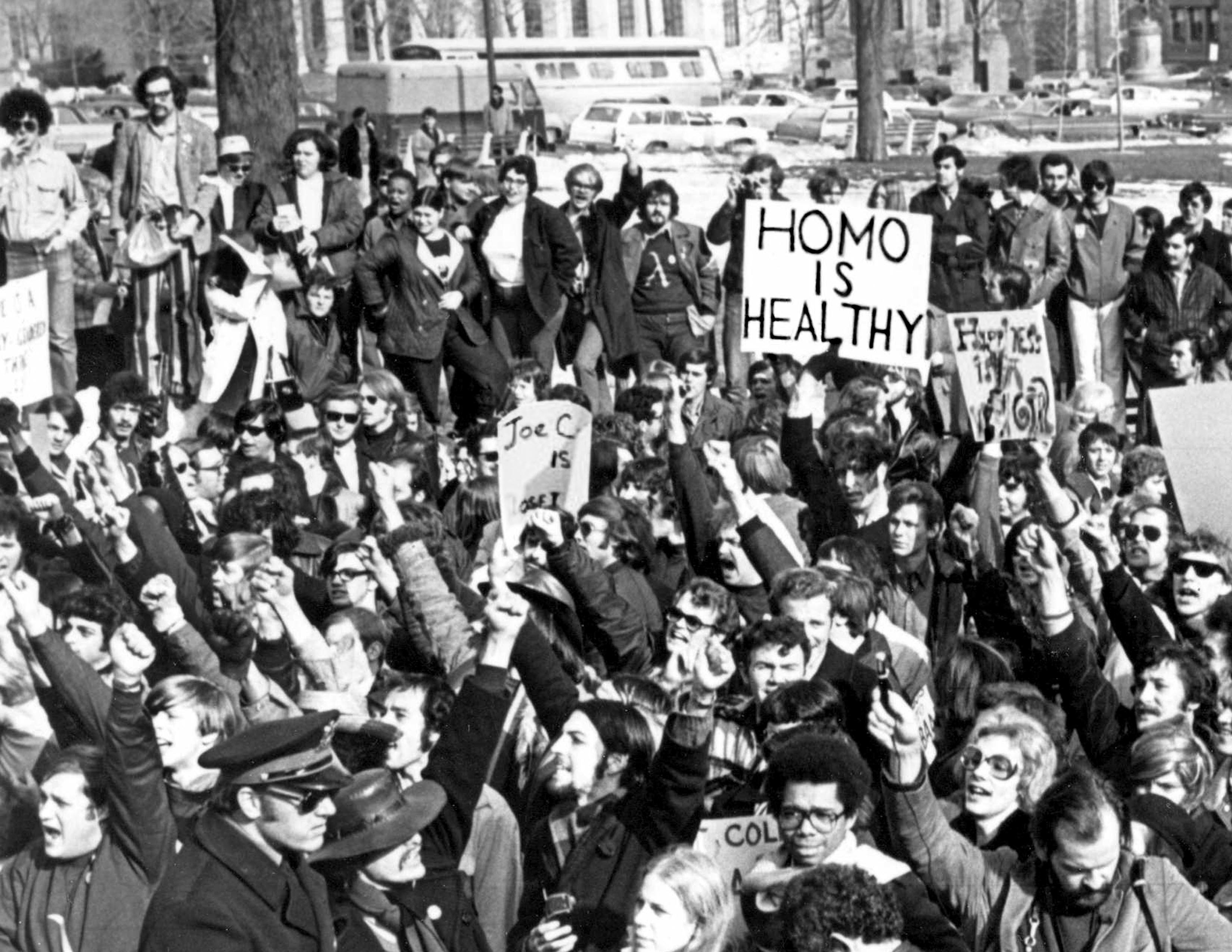 """Demonstrators gathered in Albany, New York, in 1971 to demand gay rights and to declare that """"Homo Is Healthy."""" Credit: Richard C. Wandel Photographs, The LGBT Community Center National History Archive"""