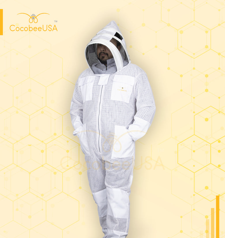 Premium 3 Layer White Beekeeping Suit Fencing Veil