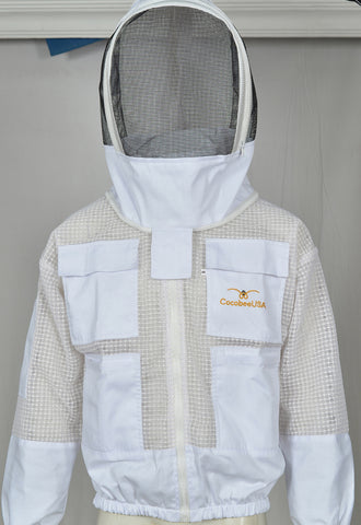 Bee Jacket 3 Layer White Fabric Mesh Beekeeping Fencing Veil Ultra Ventilated Bee Jacket