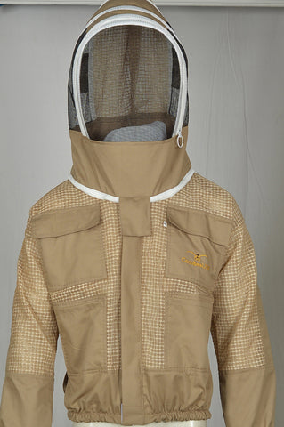Beekeeping Jacket with Fencing Veil,Extra Ventilated Beekeeper Khaki Jackets for Professionals Beekeeper