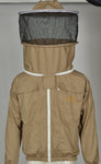 Beekeeping Cotton Jacket with Round Veil,Extra Ventilated Beekeeper Khaki Jackets for Professionals Beekeeper