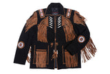 Men's Traditional Cowboy Western Leather Jacket Coat with Fringe Native American Jacket Suede Beaded Work