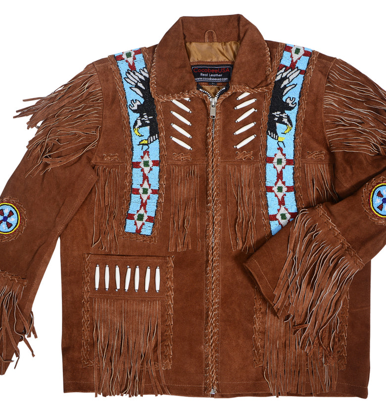 Real Suede Cowboy Style Leather Jacket for Sale Native American Coat Fringe