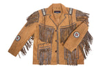 Men's Traditional Cowboy Western Leather Jacket Coat with Fringe Native American Jacket Suede Beaded