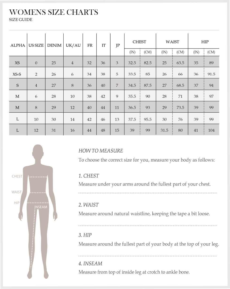 Women's workwear size chart