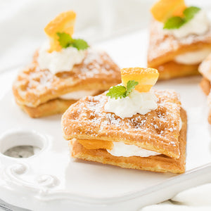 German Waffles with Orange Almond Filling- Using Kathi Waffle Mix
