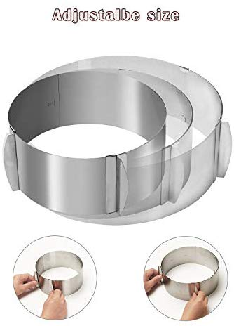 Cake Ring, Adjustable, Stainless Steel - For Layered Cakes - Size 6-12 Inches
