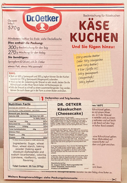 german cheese cake baking mix instructions