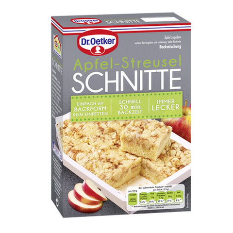 dr oetker apple cake baking mix with streusel